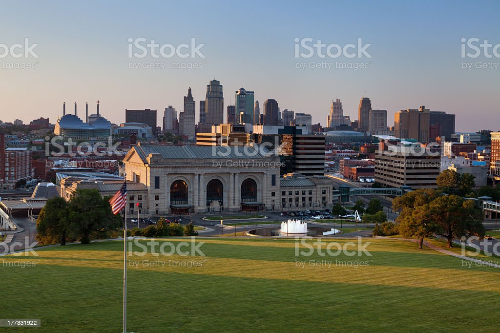 View of Kansas City skyline on a sunny day stock photo