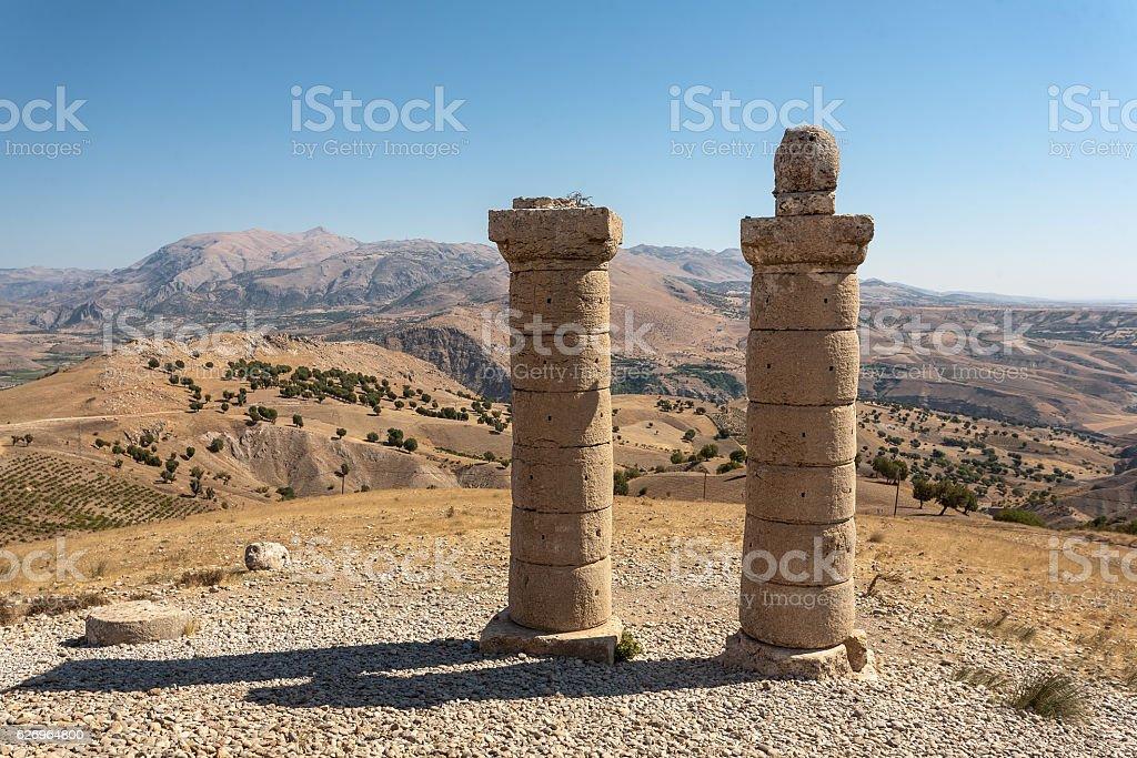 View of Karakus Tumulus, ancient area of Nemrut National Park. stock photo