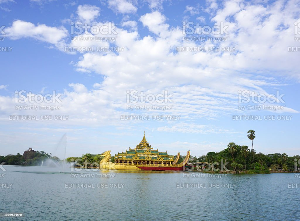 View of Karaweik palace in Yangon, Myanmar stock photo