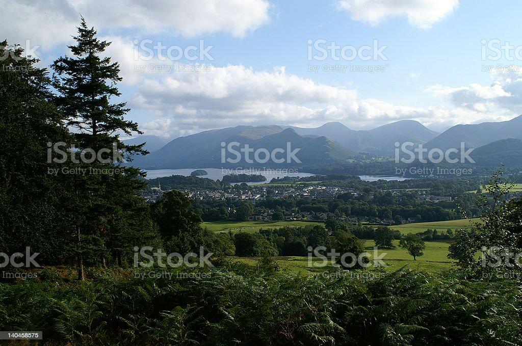 View of Keswick from Latrigg, Lake District stock photo