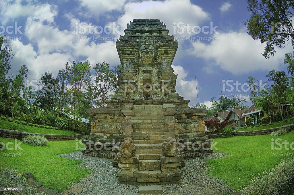 View of Kidal Temple beside garden stock photo