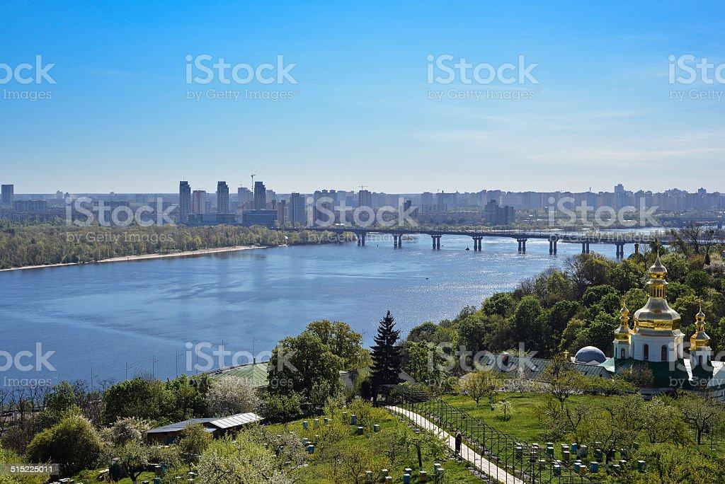 View of Kiev from Kyiv Pechersk Lavra stock photo