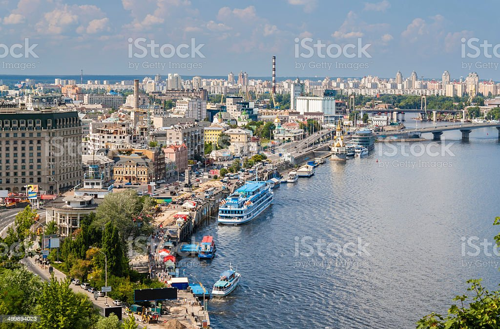 View of Kiev from observation point over the Dnieper. Ukraine stock photo