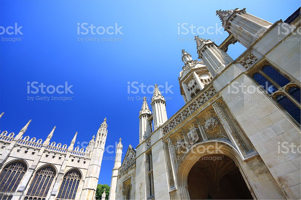 View of Kings College looking up towards the sky stock photo
