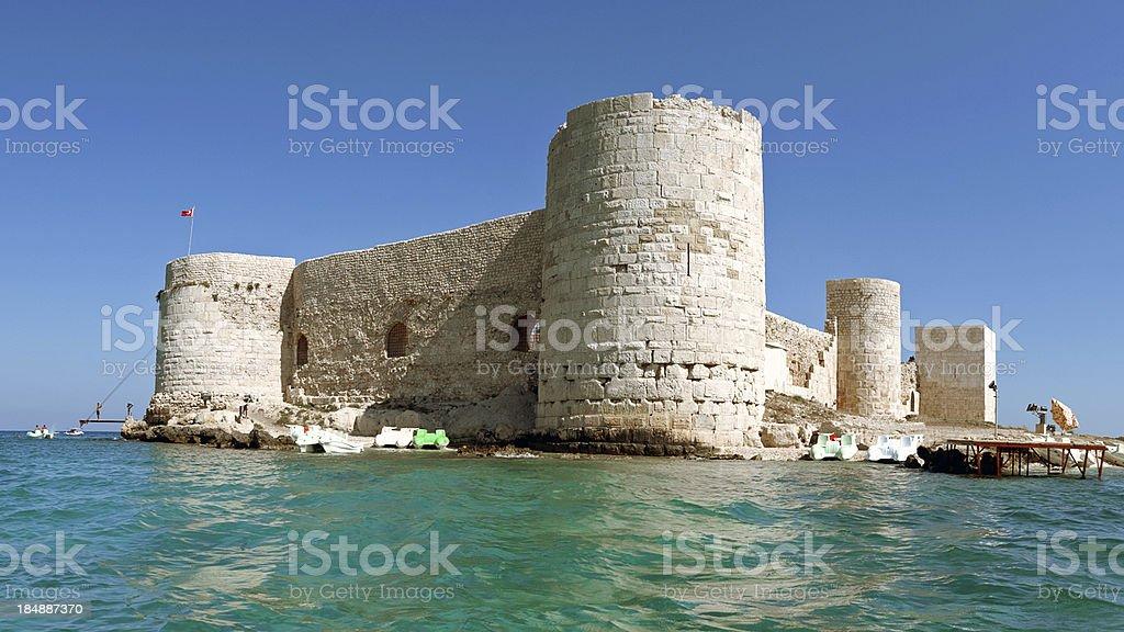 View of Kizkalesi castle in Turkey stock photo