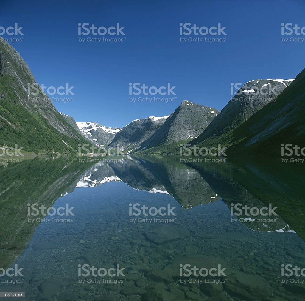 View of Kjosnesfjord royalty-free stock photo