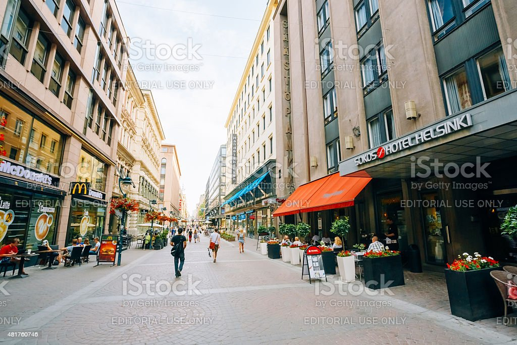 View of Kluuvikatu street in HELSINKI, FINLAND. Parked Bicycles stock photo
