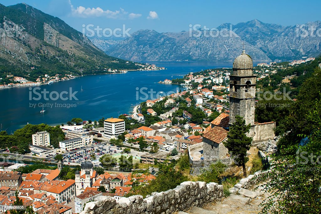 View of Kotor and the river with Our Lady of Heath Church stock photo