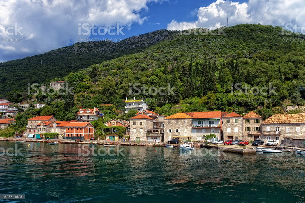 View of Kotor Bay stock photo