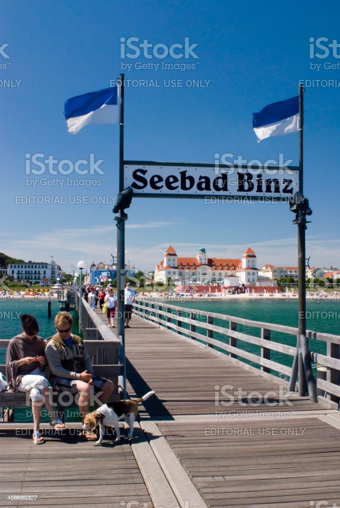 View of Kurhaus Binz from the jetty, Rugen Island, Germany stock photo
