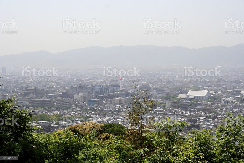 View of Kyoto from mountains stock photo