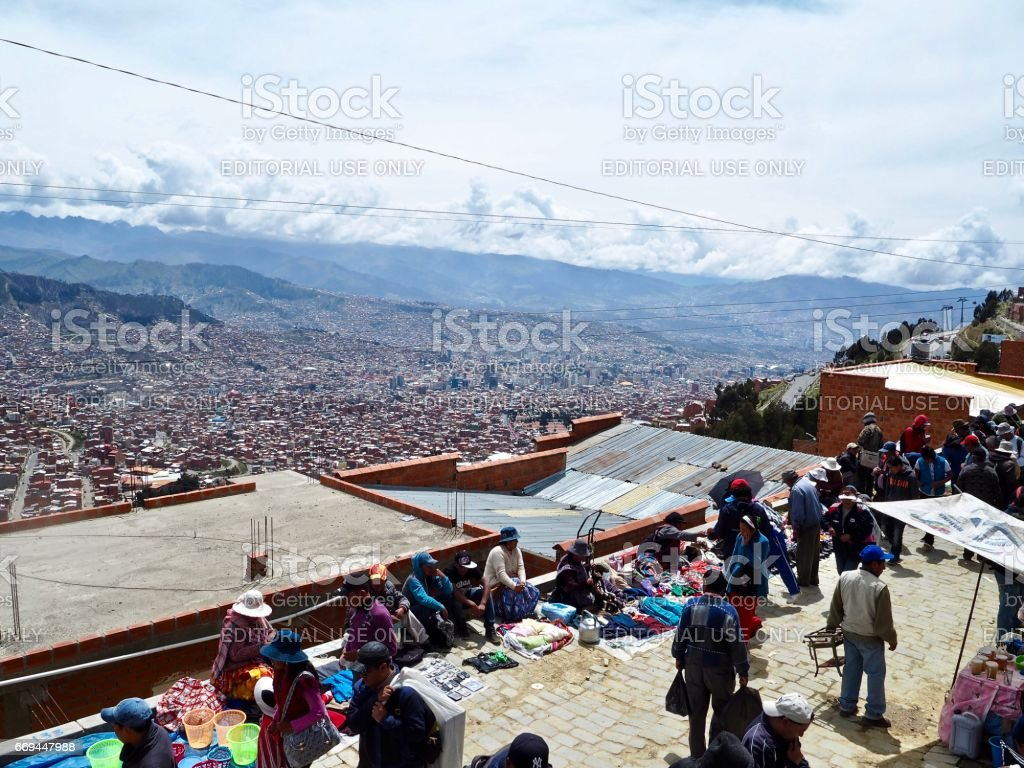 View of La Paz from the El Alto market stock photo