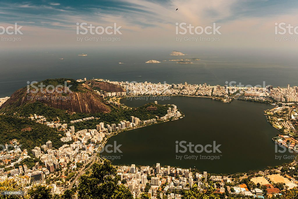 View of Lagoa Rodrigo de Freitas, Rio de Janeiro stock photo