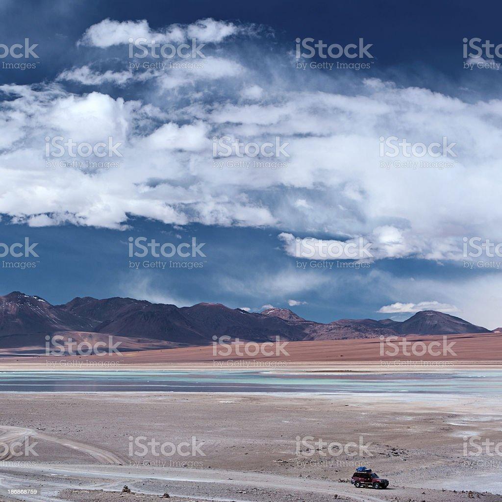 View of Laguna Blanca, Bolivian Altiplano royalty-free stock photo