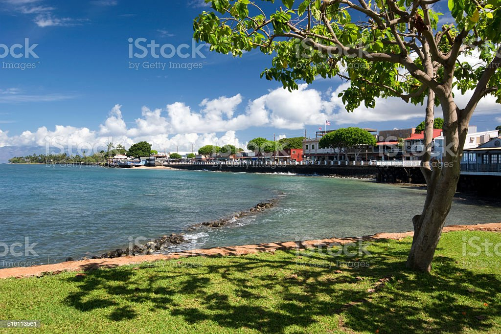 View of Lahaina's Front street, Maui, Hawaii stock photo