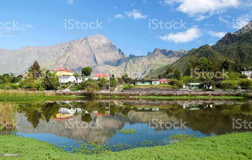 View of lake and mountains in Cilaos, France stock photo