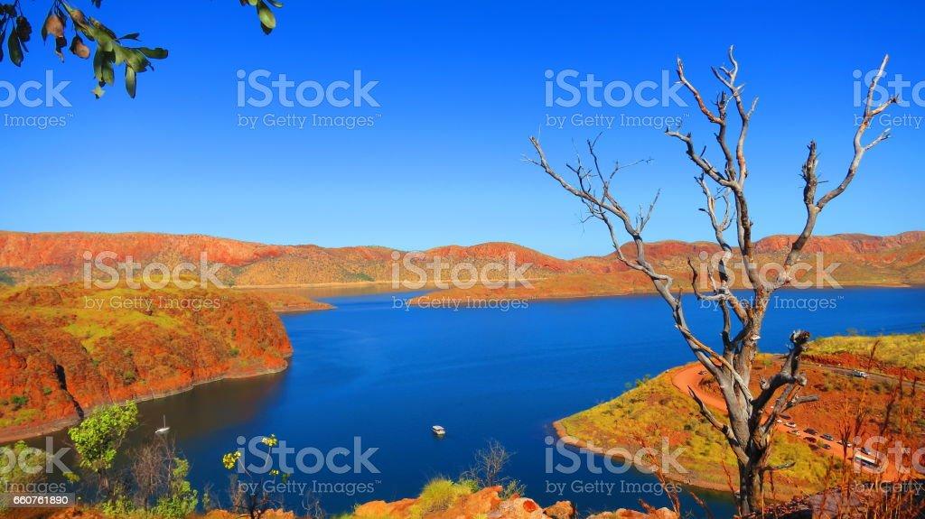 View of Lake Argyle nearby Kununurra, West Australia, stock photo