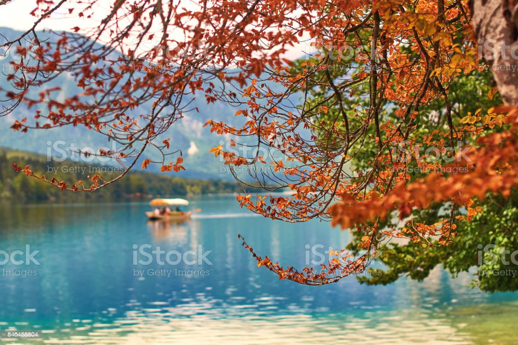 View of lake Bohinj with a boat sailing across it stock photo