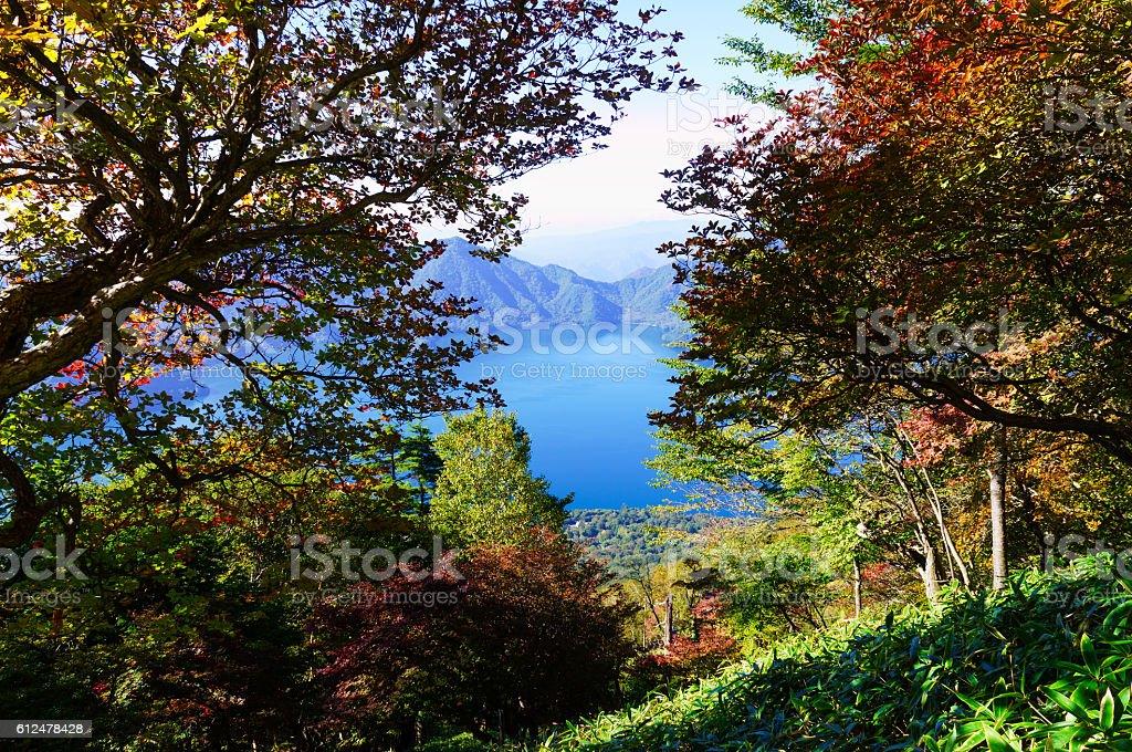 View of Lake Chuzenji from Mount Nantai in Autumn stock photo