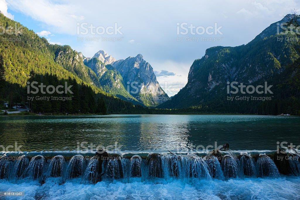 View of Lake Dobbiaco stock photo