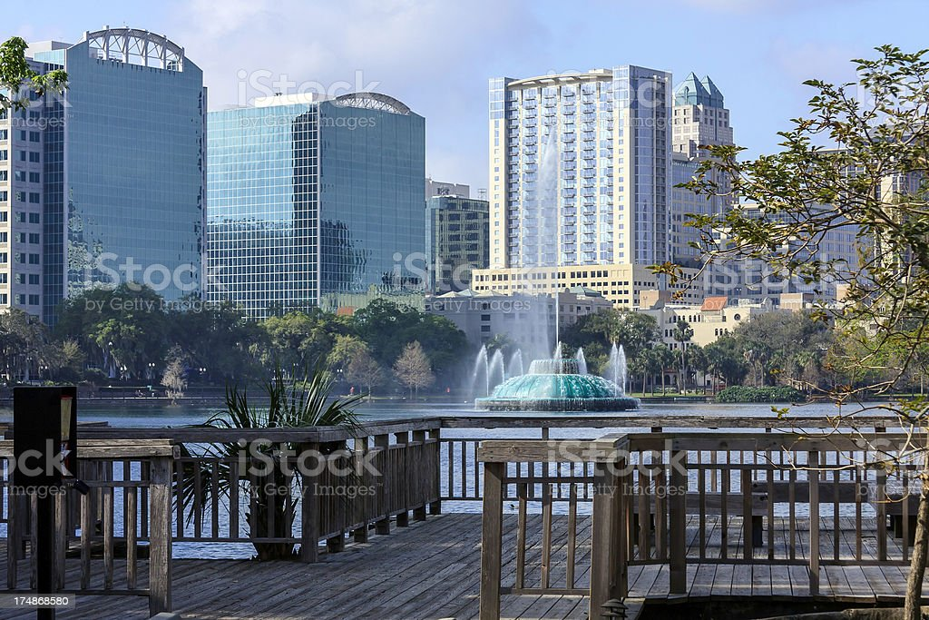 View of Lake Eola and its famous Fountain royalty-free stock photo