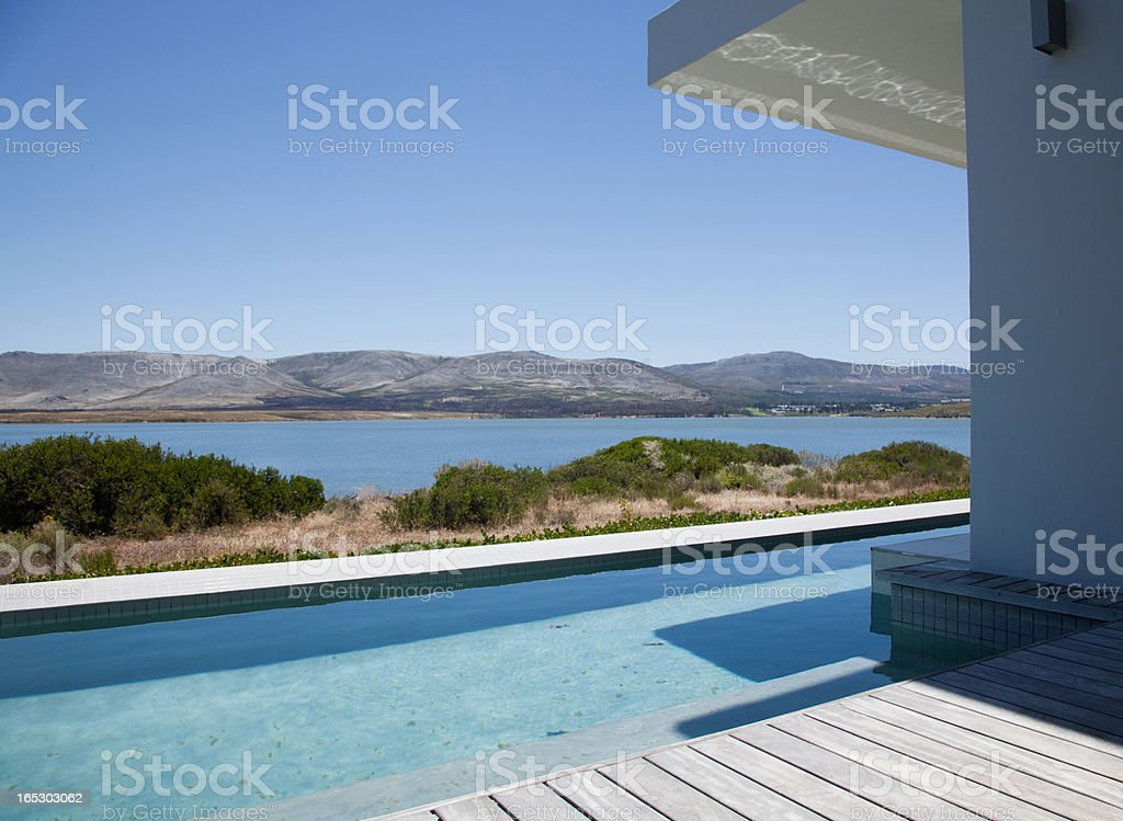 View of lake from modern house royalty-free stock photo