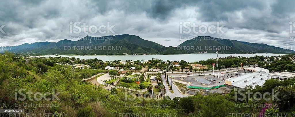 View of lake from Pueblo de Santiago Nuevo Leon Mexico stock photo