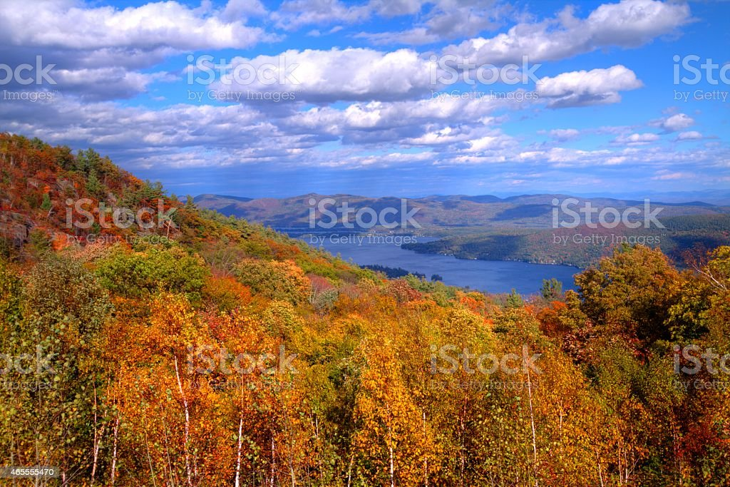View of Lake George, NY in autumn from mountain top stock photo