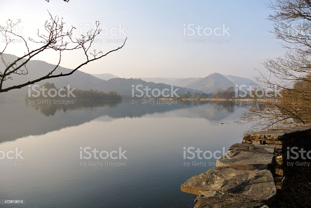 View of Lake Grasmere in Spring stock photo