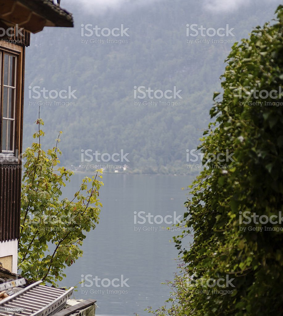 View of Lake Hallstatt by two houses royalty-free stock photo