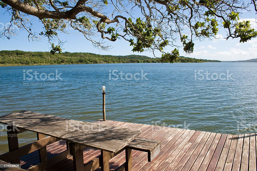 View of Lake in Mozambique stock photo