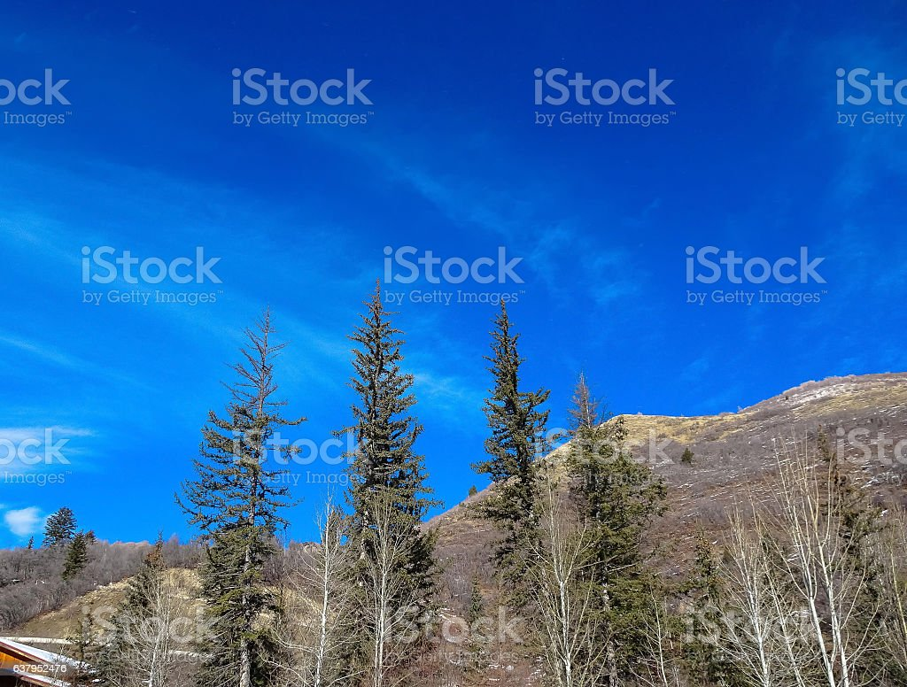 view of lake in winter mountain range stock photo