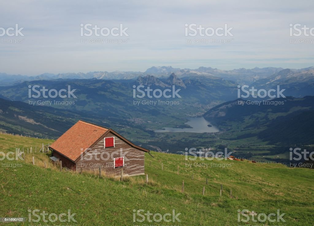 View of lake Lauerzersee and mount Mythen stock photo