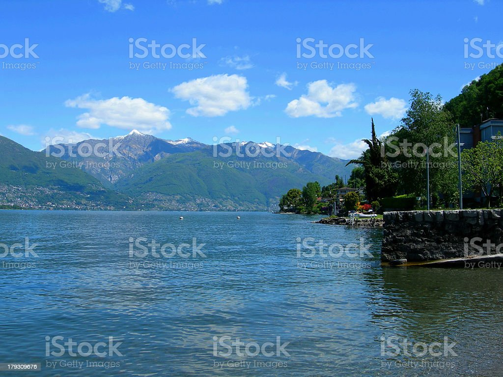 View of Lake Maggiore, in the italian Alps royalty-free stock photo