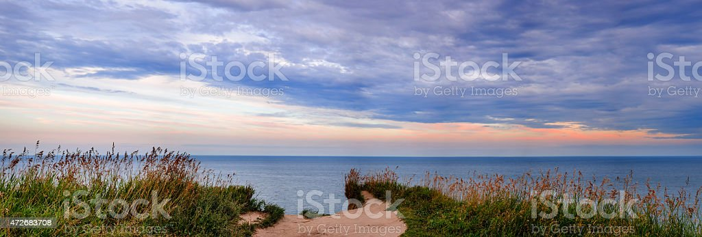 View of Lake Ontario from Scarborough Bluffs stock photo