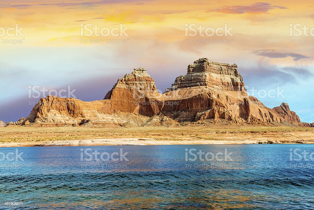 View of Lake Powell in Page city, AR stock photo