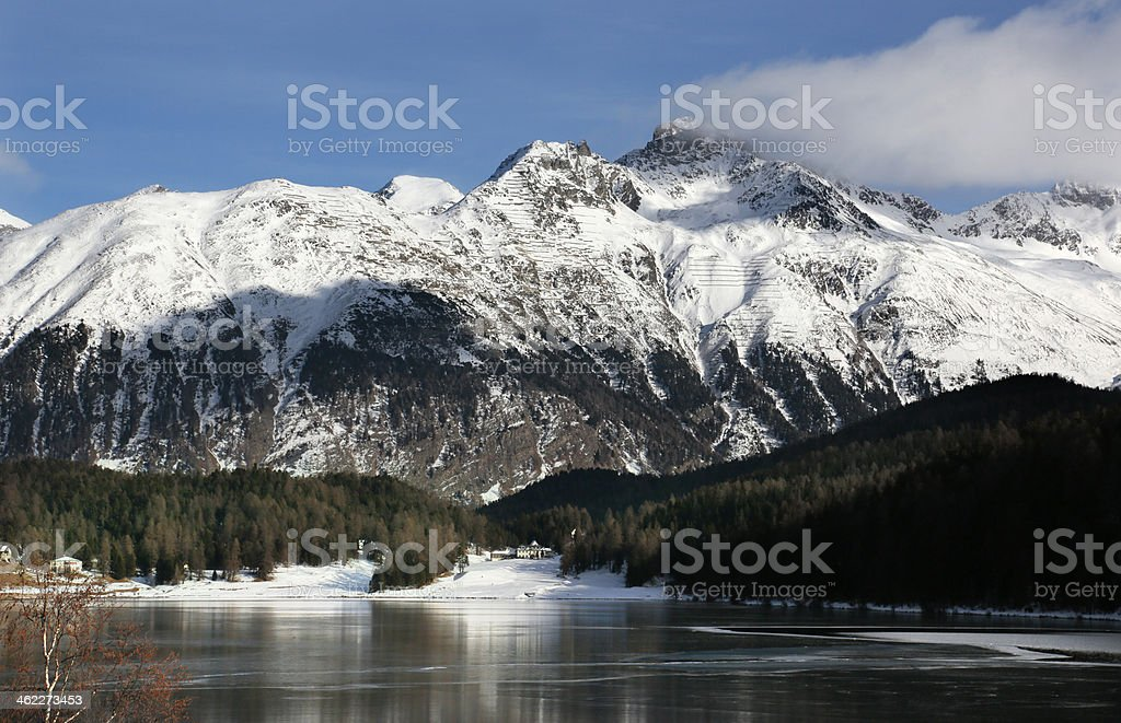 View of lake St. Moritz and Eastern Alps, Switzerland royalty-free stock photo