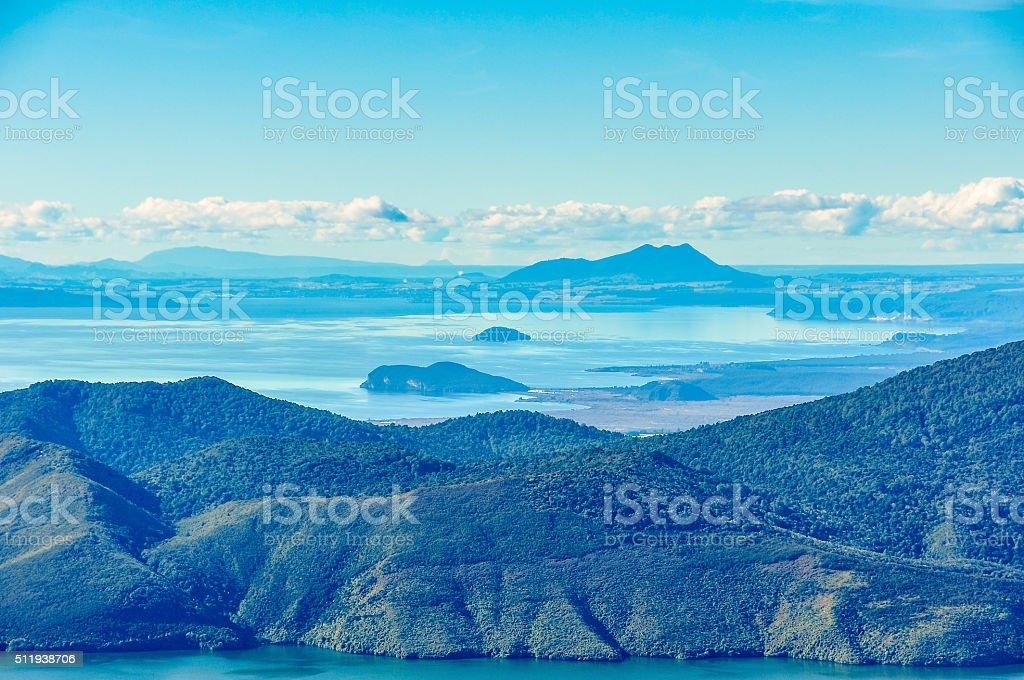 View of Lake Taupo and Lake Rotoaira in New Zealand stock photo