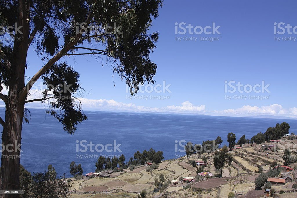 View of Lake Titicaca from Taquile Island stock photo