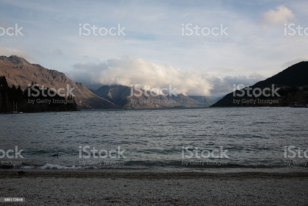 View of Lake Wakatipu and the Remarkables, New Zealand stock photo