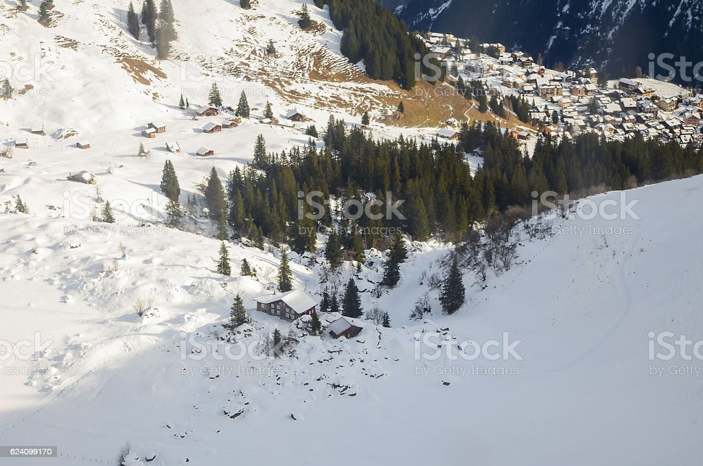 View of landscape in the Alps at gimmelwald & murren stock photo