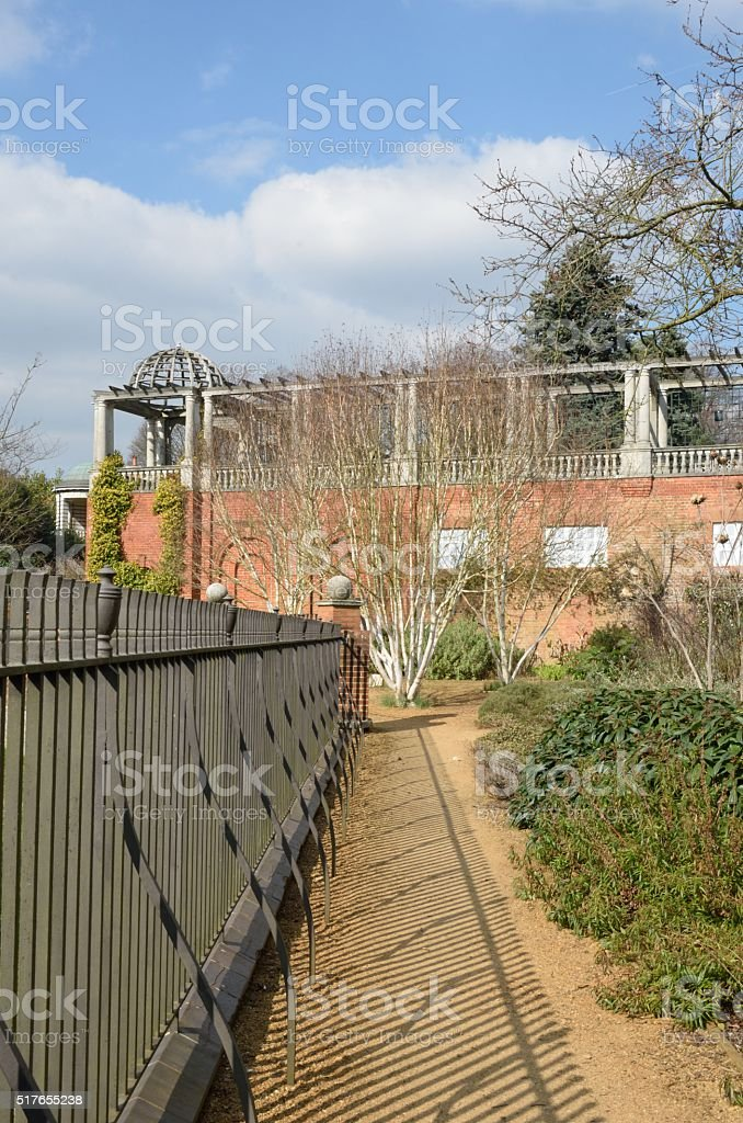 View of large english pagoda with railings stock photo