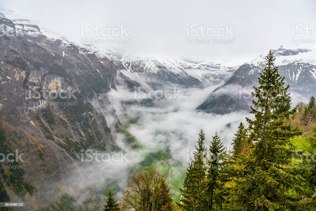 view of Lauterbrunnen from murren - Switzerland stock photo