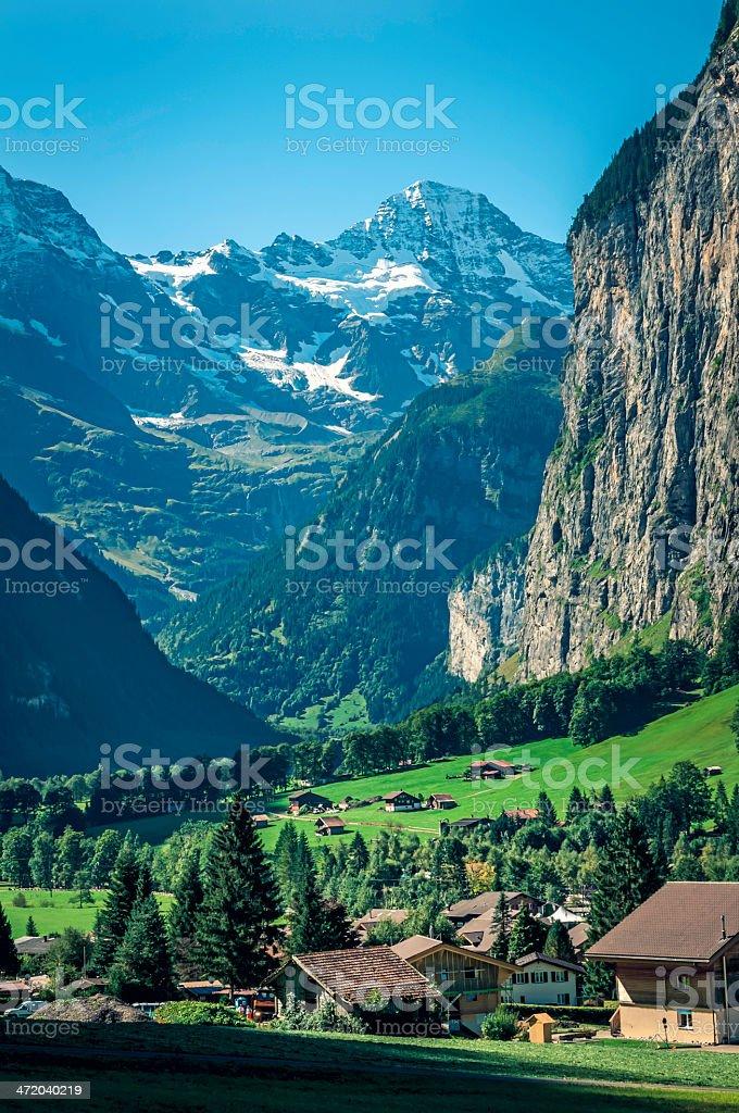 View of Lauterbrunnen valley in Switzerland - I stock photo