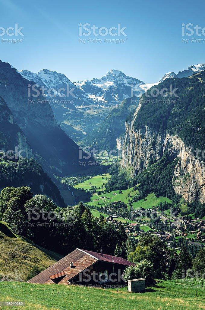 View of Lauterbrunnen valley in Switzerland - II stock photo