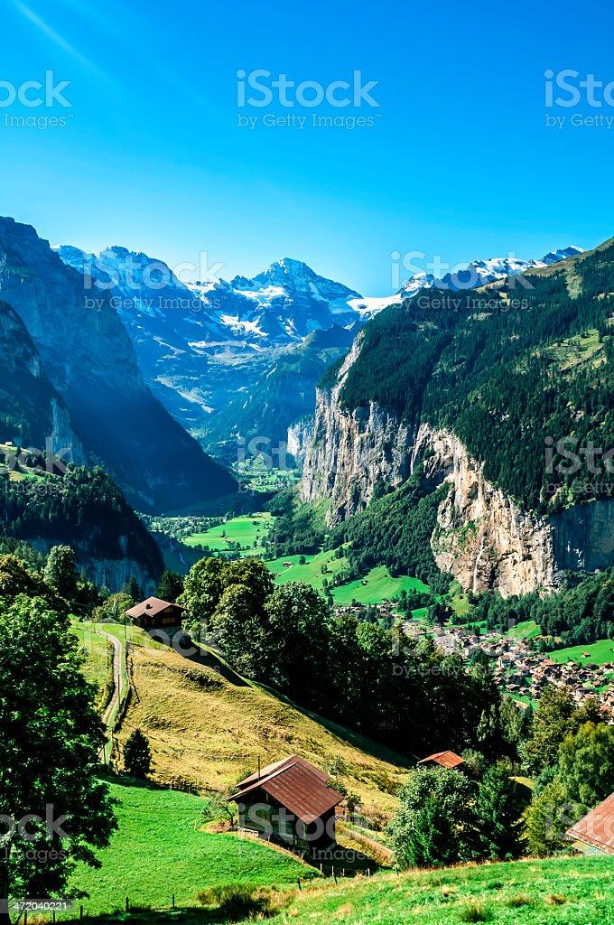 View of Lauterbrunnen valley in Switzerland - III royalty-free stock photo