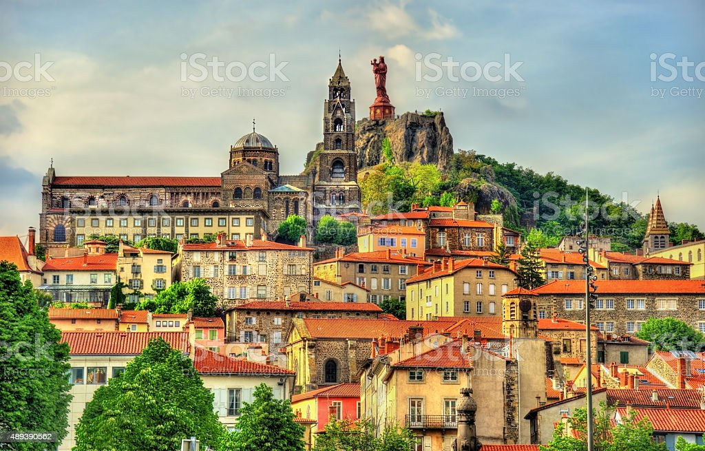 View of Le Puy-en-Velay, a town in Haute-Loire, France stock photo