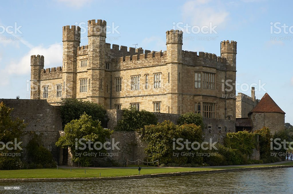 A view of Leeds castle from across the water stock photo