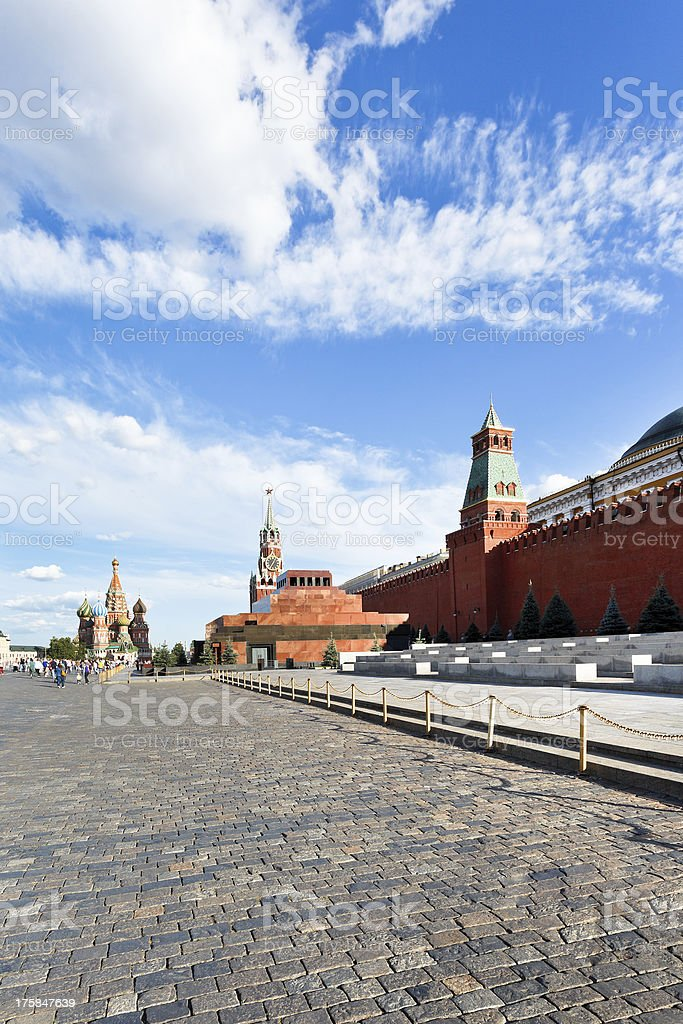 view of lenin mausoleum and kremlin wall royalty-free stock photo