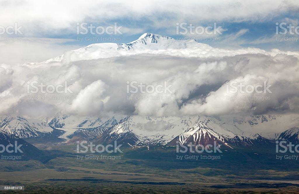 View of Lenin Peak from Alay range stock photo